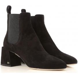 Dolce&Gabbana Botines hasta el tobillo en ante marrón oscuro con un gran talón