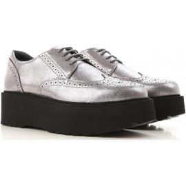 Hogan urban Zapatos de cordones para mujer en piel plateada con para negro