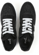 Hogan Zapatillas de mujer en piel y tejido efecto brillo negro