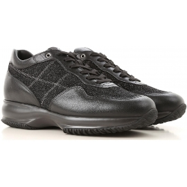 Hogan Zapatillas de mujer en piel negra y tejido glitter