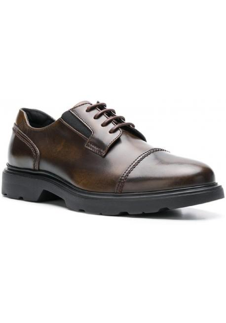 zapatillas de deporte para baratas d8292 c133c Hogan H393 MEMORY Zapatos de cordones para hombre en piel marrón medio
