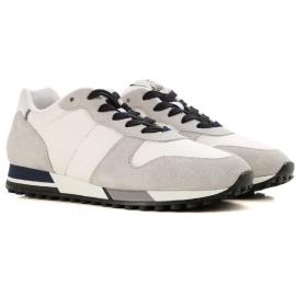 Hogan H383 RUNNING Zapatillas de hombre en gamuza gris y tela blanca