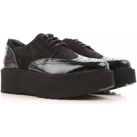 Hogan H355 Zapatos de cordones para mujer en charol negro y gamuza