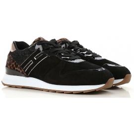 Hogan Zapatillas deportivas para mujer en gamuza negra con efecto brillo
