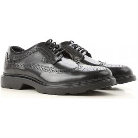 Hogan H393 DERBY Zapatos de cordones para hombres en piel negra con brogue