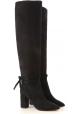 Aquazzura MILANO BOOT 85 Botas negras de mujer hasta la rodilla con tacones cuadrados
