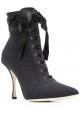 Dolce&Gabbana Botas de tacòn alto cordones de mujer en tejido tècnico negro