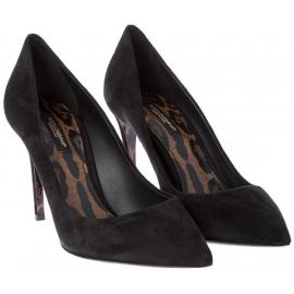 Dolce&Gabbana Zapatos con tacones de aguja para mujeres en gamuza negra