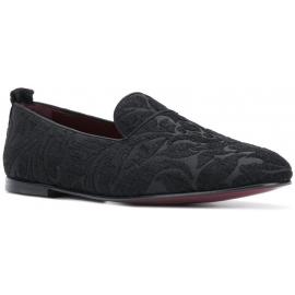 Dolce&Gabbana Mocasines para hombre en terciopelo negro y suela de cuero