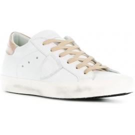 Philippe Model zapatillas bajas con cordones para mujer en piel blanco-hueso