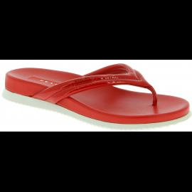 Prada Zapatos de chanclas para mujeres de charol y piel roja brillante