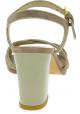 Stuart Weitzman Sandalias con tacones cuadrados para mujer en gamuza beige