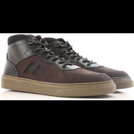 Hogan H365 Zapatillas altas para hombre en cuero nobuck marrón oscuro