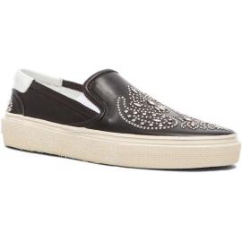 Saint Laurent Zapatos de meter de mujeres en piel de becerro negra tachonada