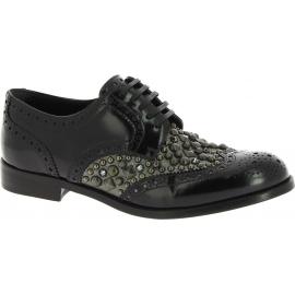 Dolce&Gabbana Zapatos tachonados con cordones mujer en piel de becerro negra