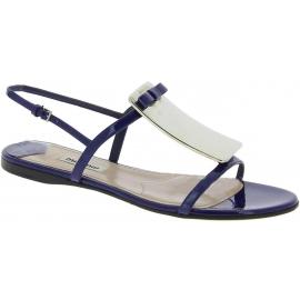 Miu Miu Sandalias planas de punta abierta con hebilla de mujer de charol azul