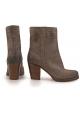 Coche zapato beige gamuza cuero midcalf botines zapatos mujer