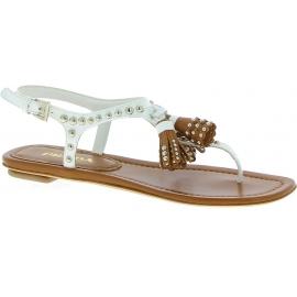 Prada Sandalias de tiras planas con borlas para mujer en piel blanca marrón