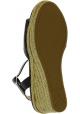 Prada Sandalias de cuña slingback fashion para mujer en piel brillante negra