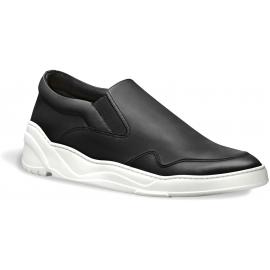 Zapatos de cuero negros de la zapatilla de deporte de los deslizadores-zapatos de los hombres de Dior