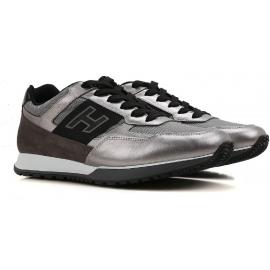 Hogan zapatillas bajas para hombre en plata Cuero lacado laminado