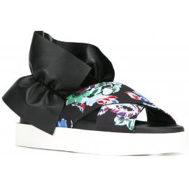 MSGM zapatillas sandalias en negro Cuero y Tejido patrón floral