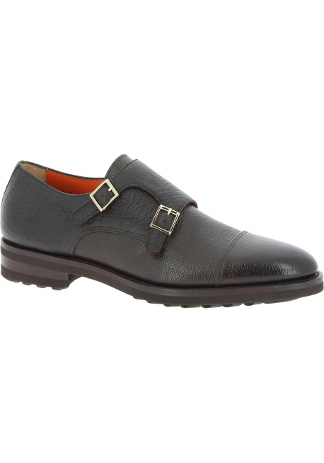 Zapatos Para Color Santoni Hombres Piel Oscuro Monje Doble En De Marrón rthxsQdC