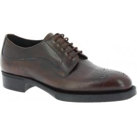 Prada Zapatos con cordones para mujeres en piel de becerro marrón oscuro