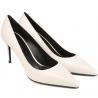 Saint Laurent bombas de zapatos de tacón en cuero blanco