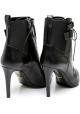Sergio Rossi tacones botines en negro de cuero y tela
