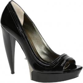 Lanvin peep toe zapatos en charol negro