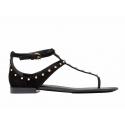 Balenciaga sandalias Milli en gamuza negra con tacos metálicos de pisos