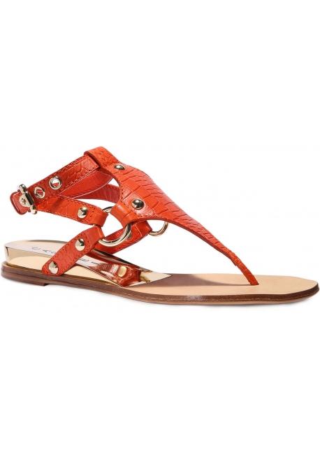 Casadei Rio pisos sandalias en cuero de pimentón