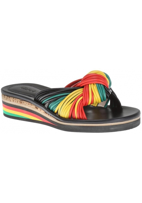 Chloé las mujeres bajo zapatillas de cuña de piel multicolor