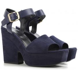 Céline cuñas sandalias en cuero de ante azul marino