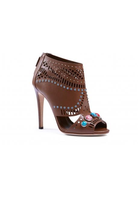 Botín de cuero Gucci Lika laser-corte tuerca marrón