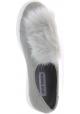 Steve Madden Zapatillas sin cordones para mujer en cuero gris falso con piel