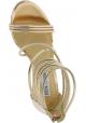 Steve Madden Sandalias de tacón alto para mujeres en piel sintética dorada