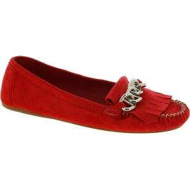 Prada Zapatos Mocasines con flecos y cadena para mujeres en gamuza roja